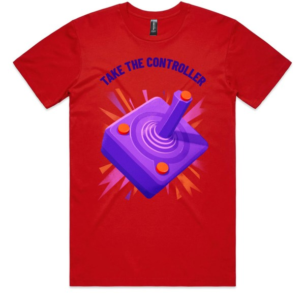 Take The Controller Men Red T Shirts