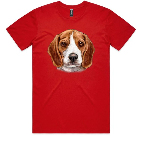 Cute Beagle with Sad Eyes Men Red T Shirts