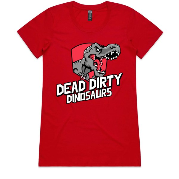 Dead Dirty Dinosaurs 001 Ladies Red T Shirts