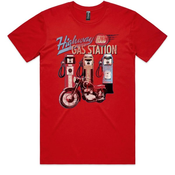 Highway Vintage Motorcycle Gas Pump Red T Shirts