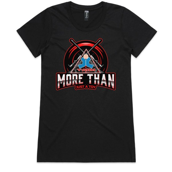 TAIDI More Than Just a Toy Crest Ladies Black T Shirts