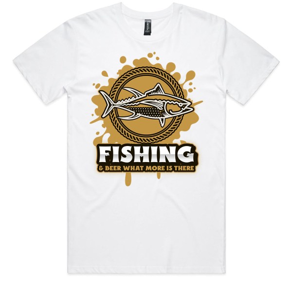 Fishing and Beer Men White T Shirts