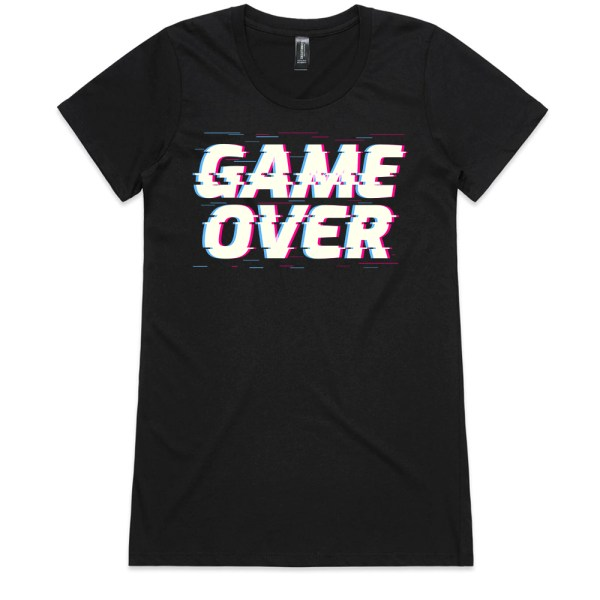 Game Over Ladies Black T Shirts