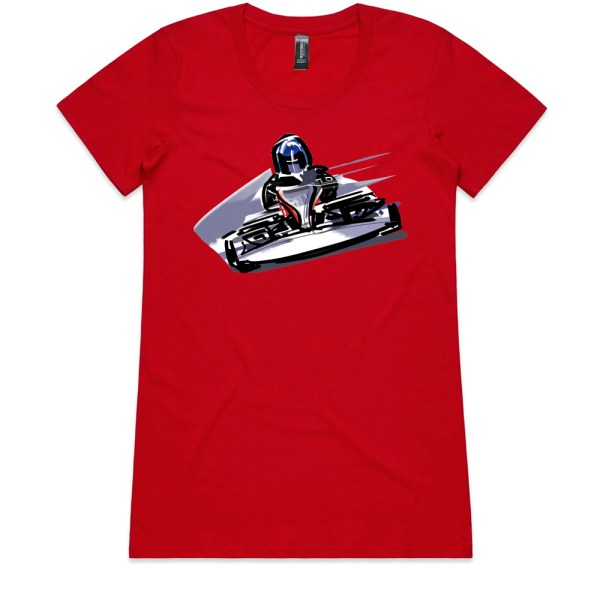 Go Cart Ladies Red T Shirts