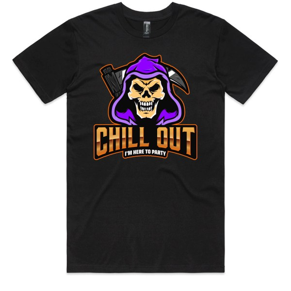 Chill Out I'm Here To Party Men Black T Shirts