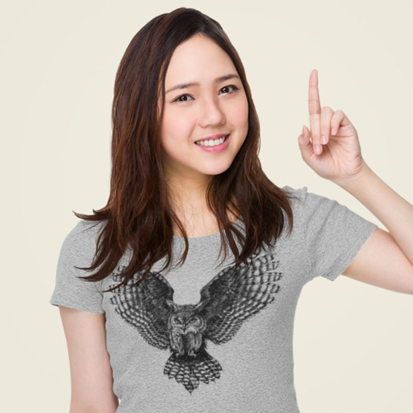 Grey Feather Owl Ladies T Shirts