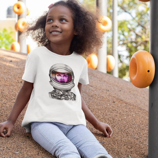 Astronaut Lady Space Dreaming Kids T Shirts