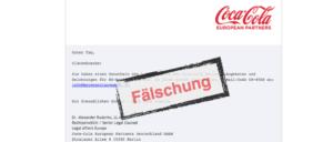 Coca Cola E-Mail Fälschung