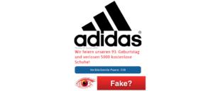Adidas Kettenbrief WhatsApp kostenlose Schuhe Fake
