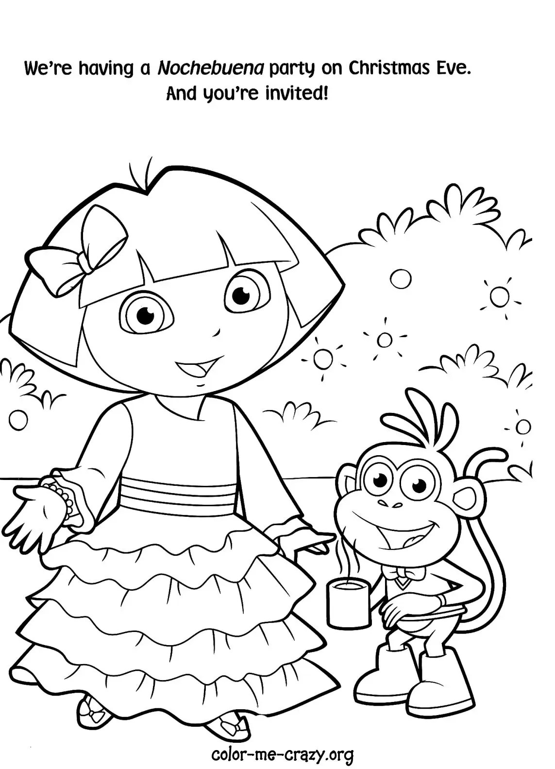 Princess Dora The Explorer Coloring Pages Printable Coloring Pages