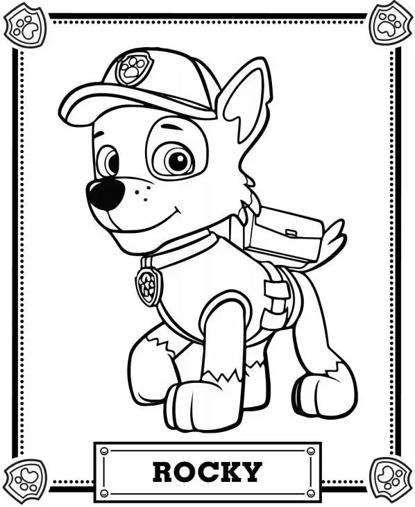 Rubble Paw Patrol Disney Coloring Page