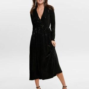 ONLREBECCA L/S GLITTER  - MaxI DRESS JRS - BLACK