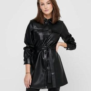 ONLRUMA L/S SHIRT DRESS PU - BLACK