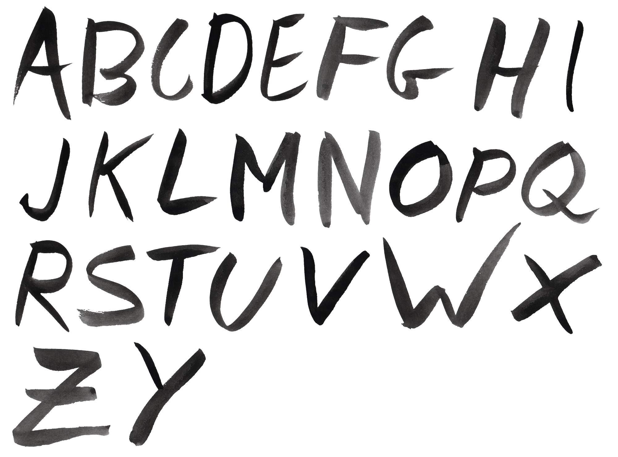 Black Watercolor Font Alphabet Transparent