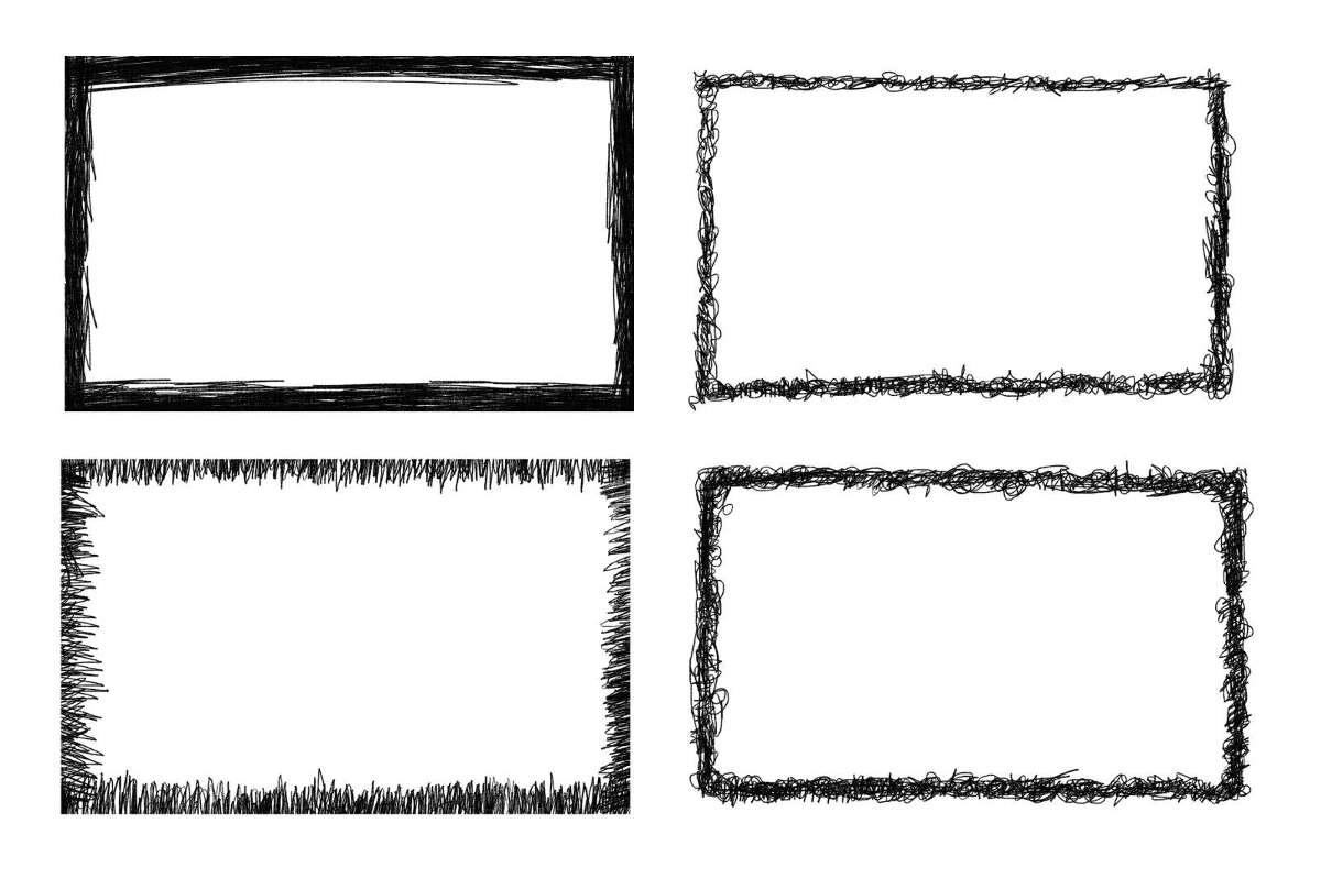 4 Rectangle Scribble Frame Transparent