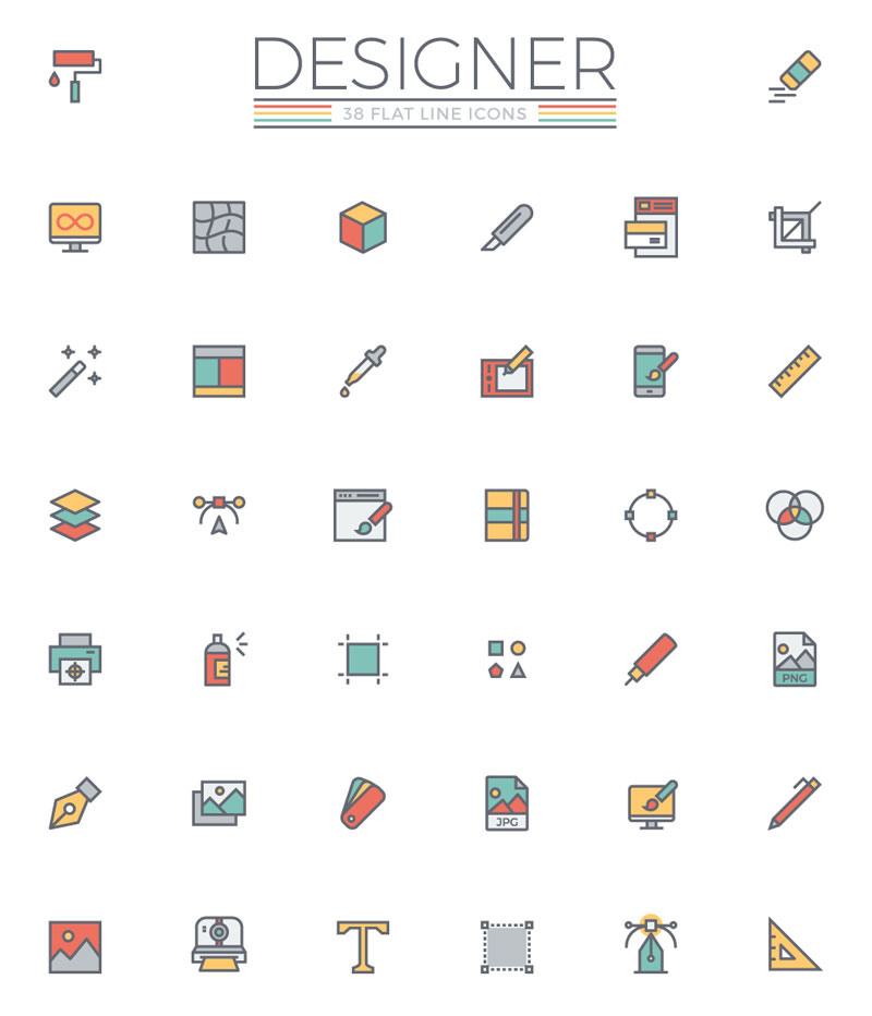 flat line designer icon set only graphic design
