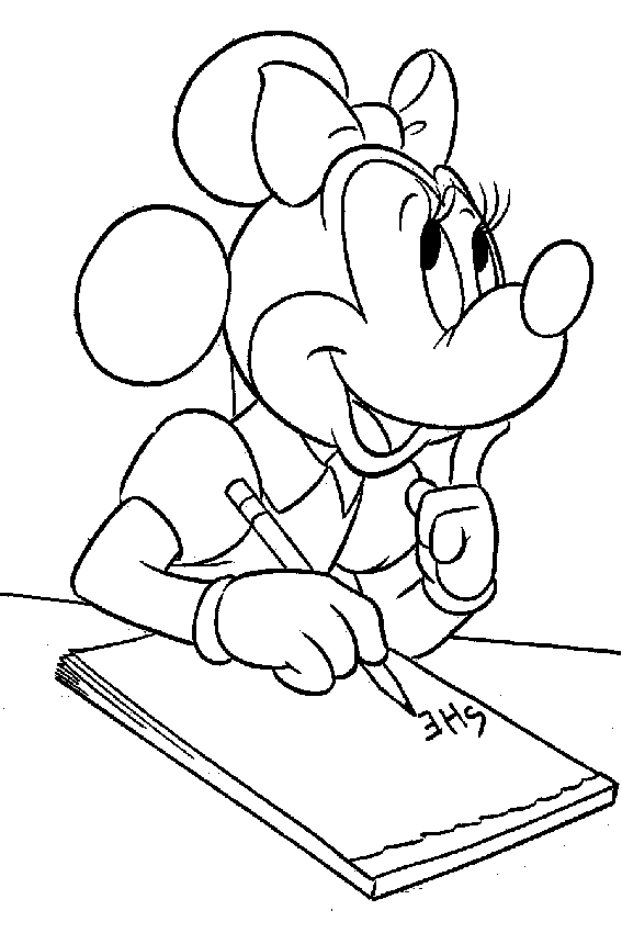 Minnie Mouse with her own great coloring pages section