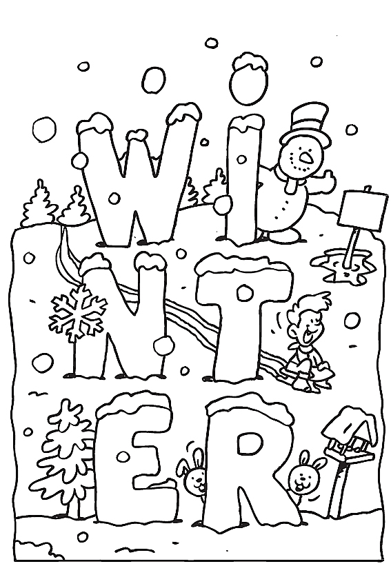 Winter coloring pages to color in when it's very cold outside