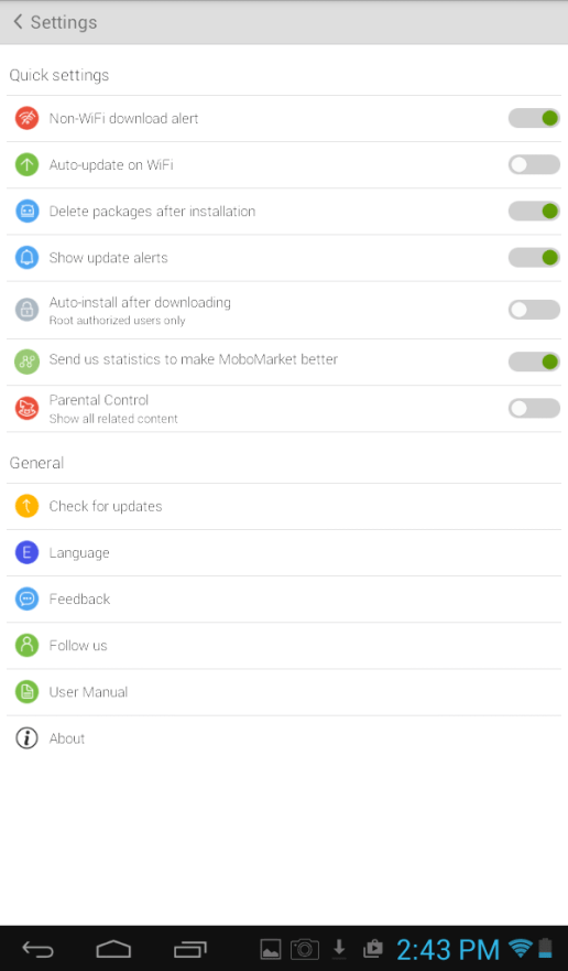 MoboMarket Quick Settings