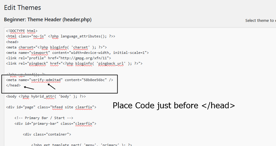 admitad code placement