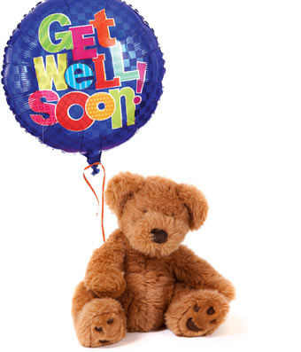 get well soon withteddy bear