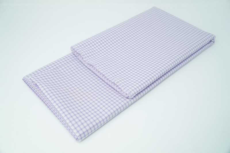 purple on white check cotton face mask material