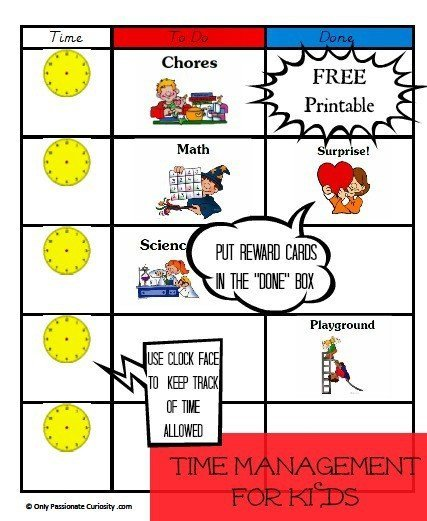 Time Management For Homeschool Kids Free Printable Only