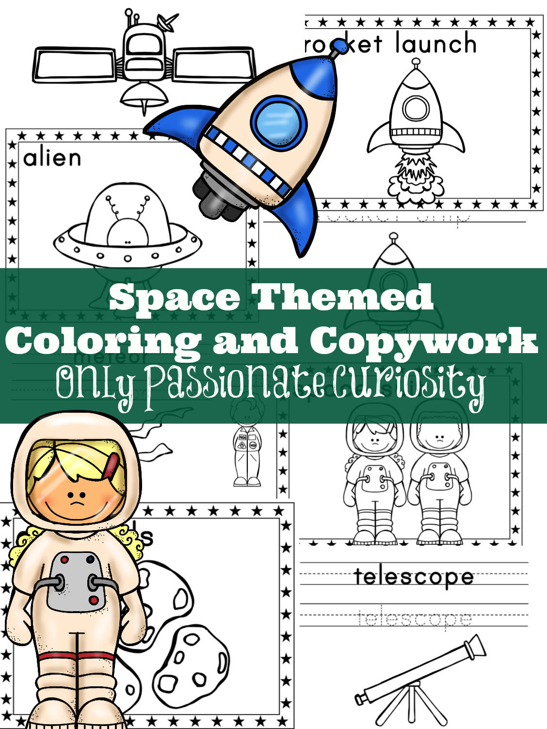 Space Themed Coloring And Copywork Printable Only
