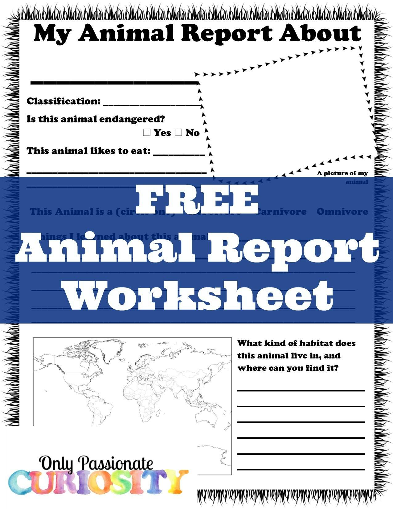Free Animal Report Worksheet Only Passionate Curiosity