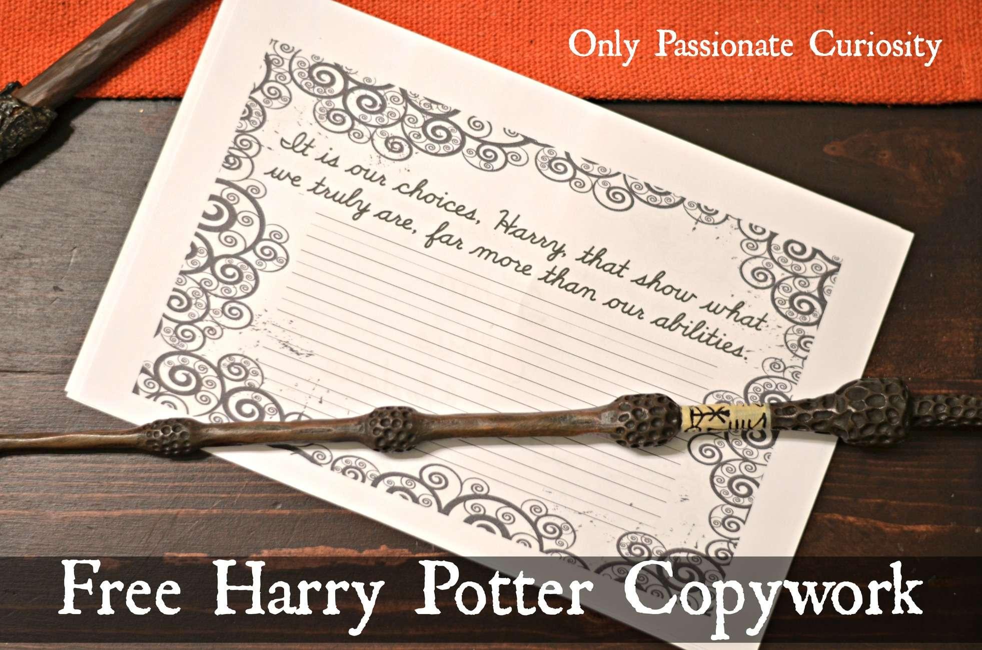 Free Harry Potter Themed Copywork