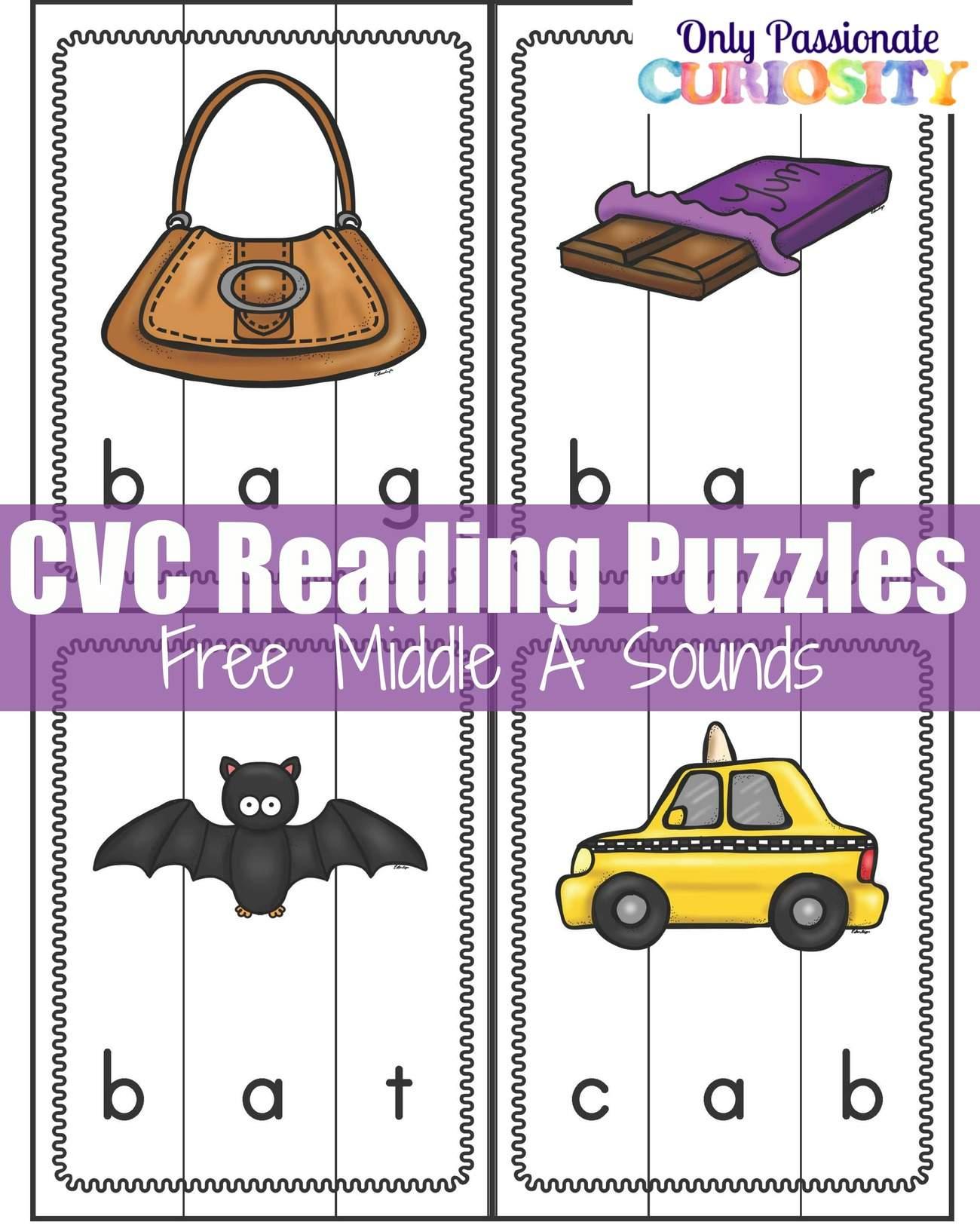 Cvc Words Middle A Sound Puzzles