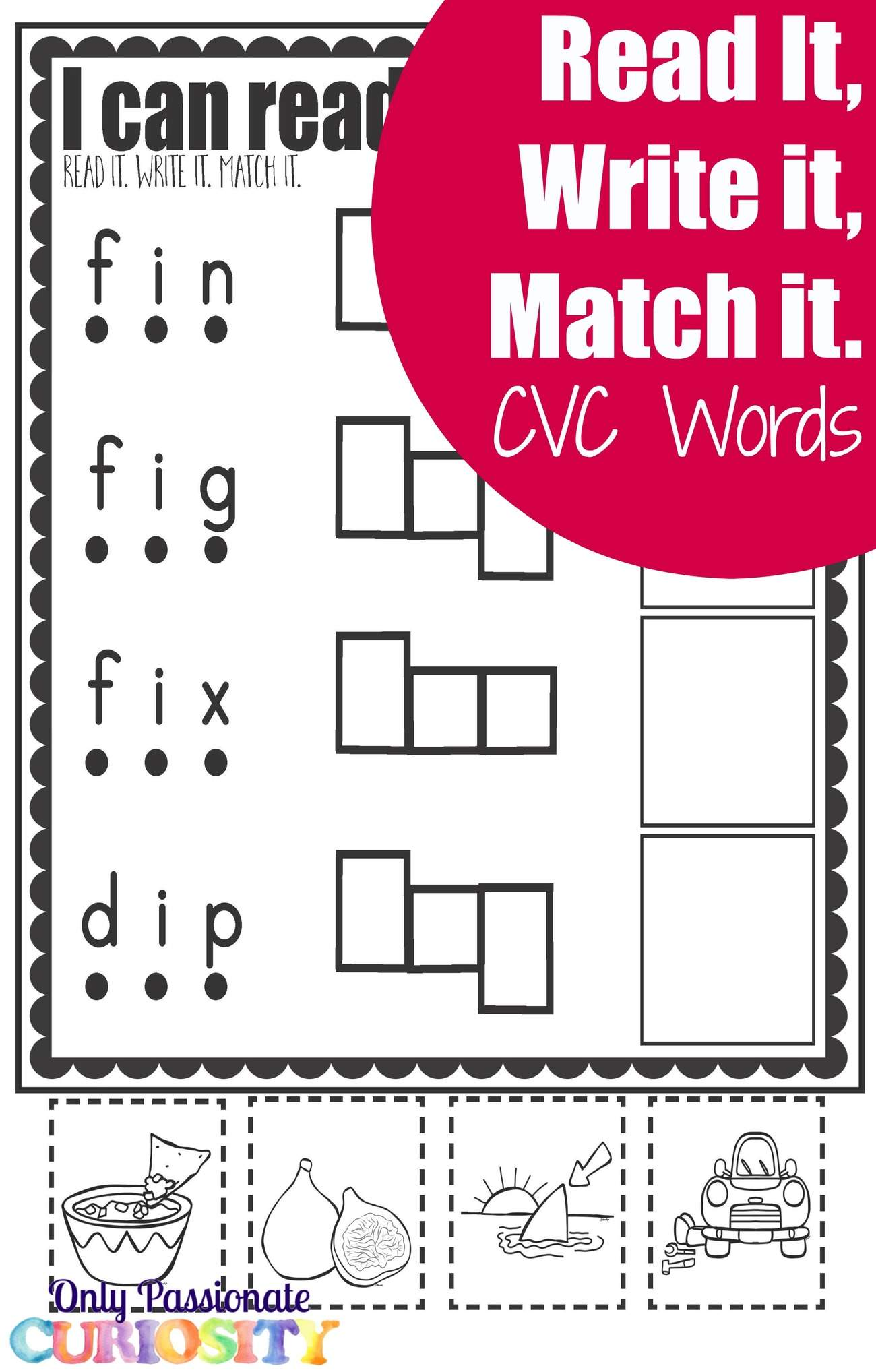 Cvc Worksheets Cut And Paste Letter I
