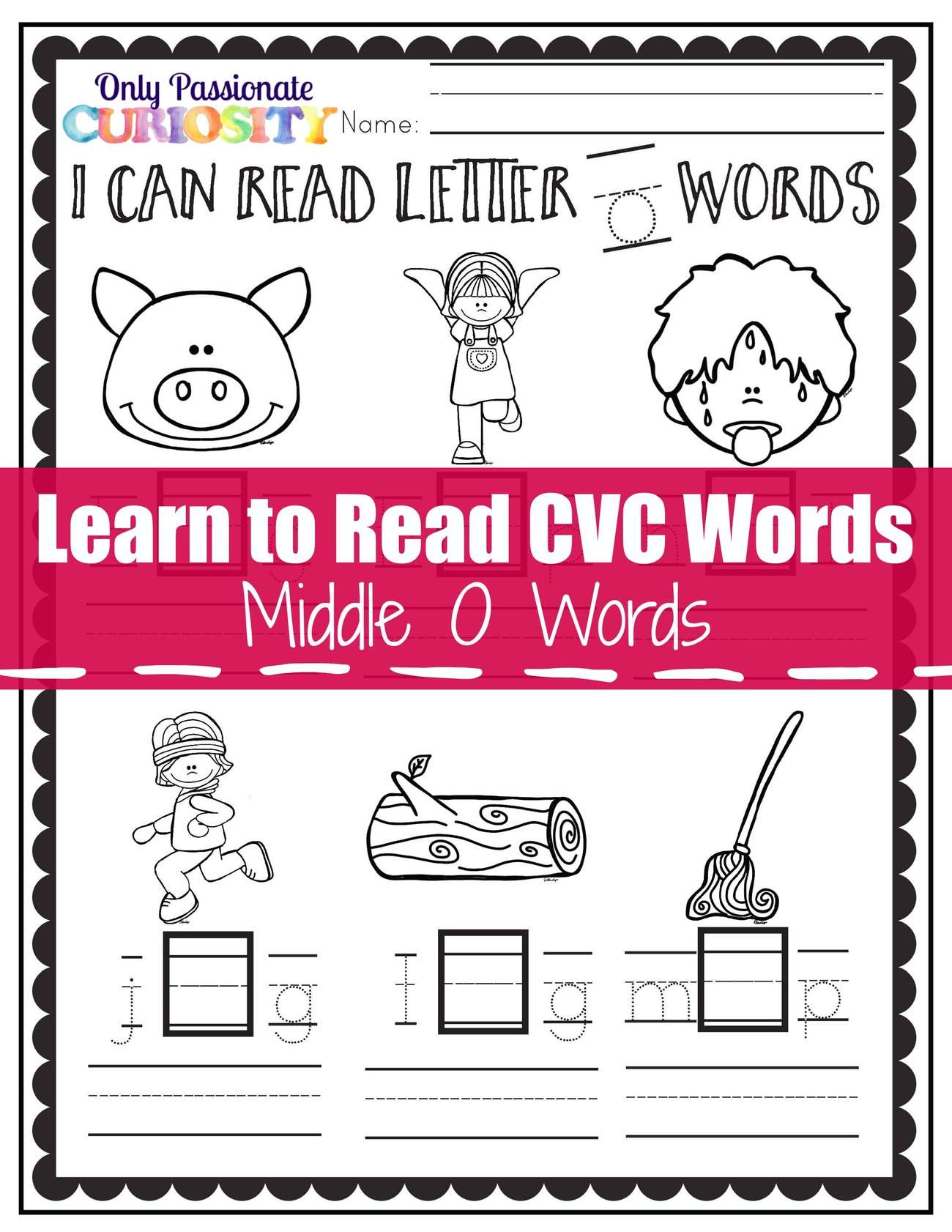 Learn To Read Cvc Words Middle O See And Write Only