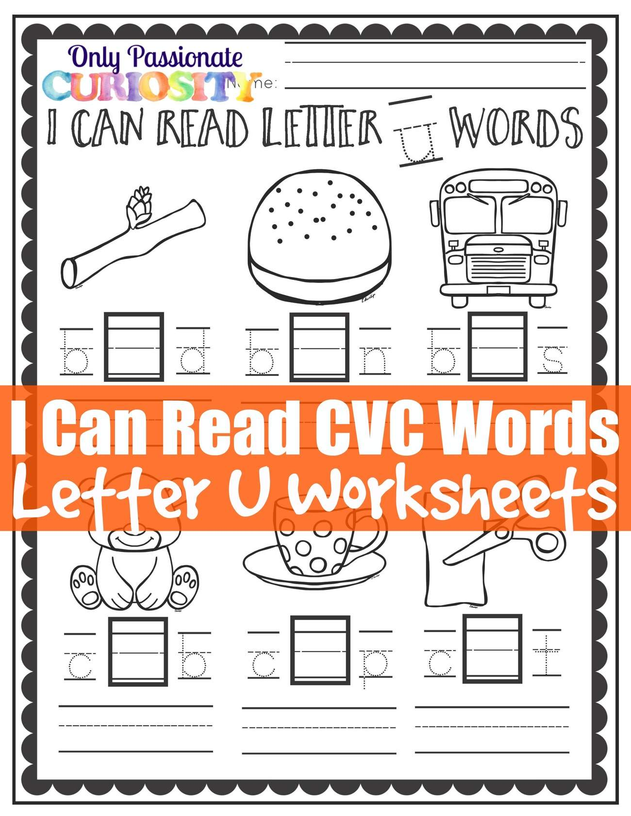 I Can Read Cvc Words Middle U Worksheets Only