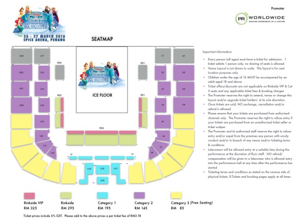 Penang Disney On Ice Seat Map Spice Arena
