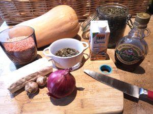 Ingrédients pour la butternut farcie aux lentilles et chèvre