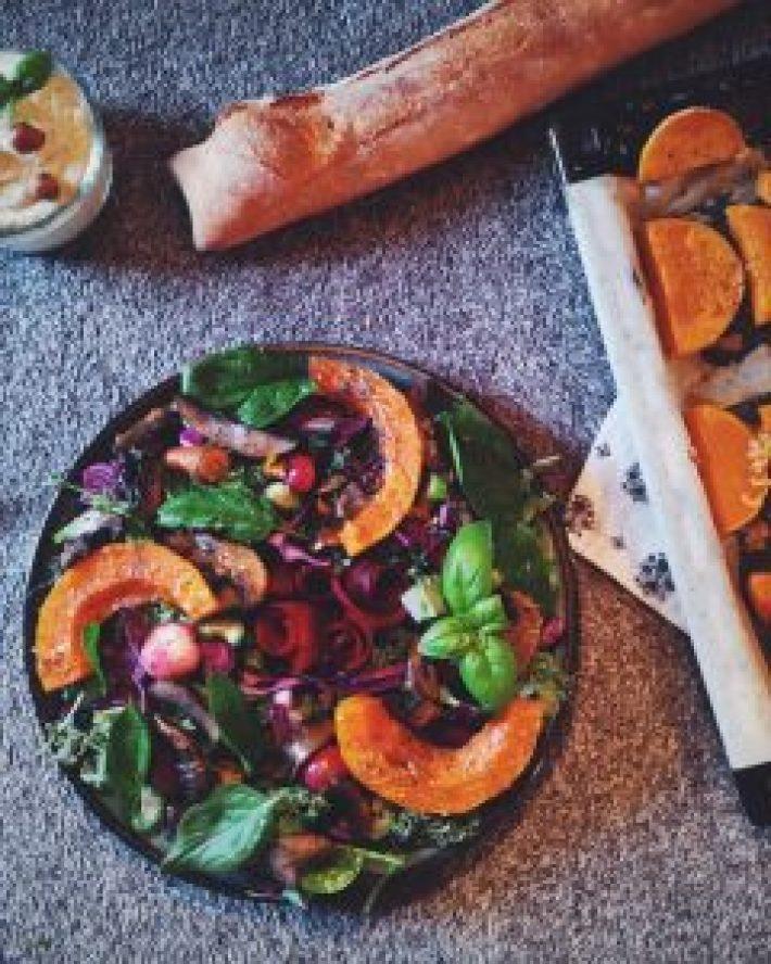 salade de chou ka, champignons au vin blanc et butternut