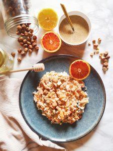 taboulé de chou fleur, jus d'orange et jus de citron