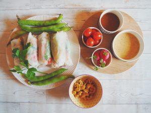 Rouleaux de printemps et sauce tamari