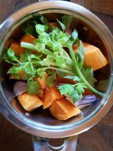 Ingrédients pour la soupe butternut Thaï