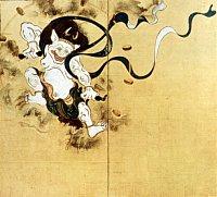 Raijin (Thunder God), painting by Tawaraya Sotatsu, Left Panel, Edo Era, Kennin-ji Temple in Kyoto