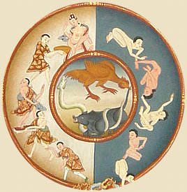 Three animals -- pig, snake, rooster -- are typically at center of Tibetan Wheel of Life