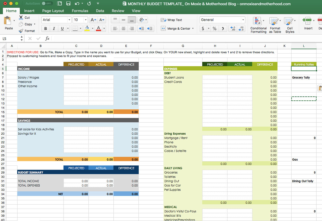 Free Excel Budget Template On Moxie And Motherhood