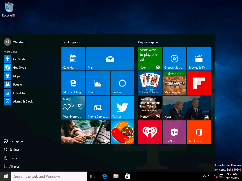 Windows 10 TH2 build 10540