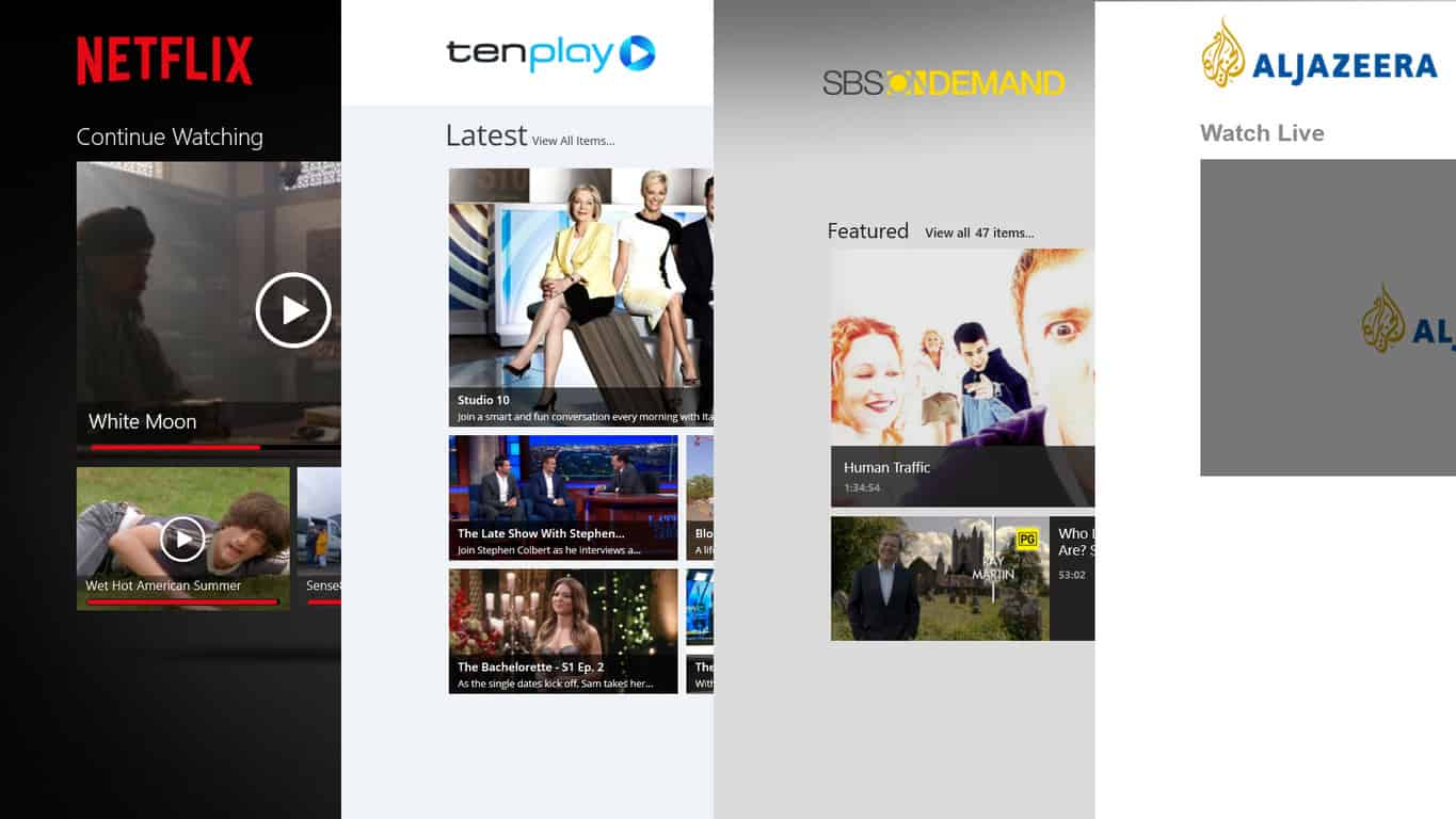 Windows Video Streaming Apps; Netflix, Ten Play, SBS On Demand, Aljazeera