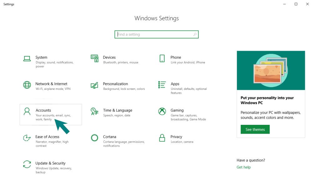 Windows 10 Settings Accounts