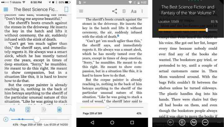 iOS, Android, and Windows phone Kindle app reading options.