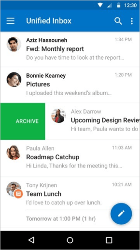 The Android app's inbox UI is now cleaner, with icons that more clearly represent message details.