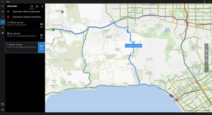 Windows Maps will now show you multiple routes to a destination.