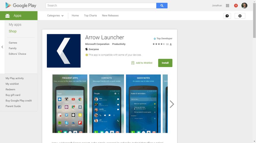 Arrow Launcher on Google Play